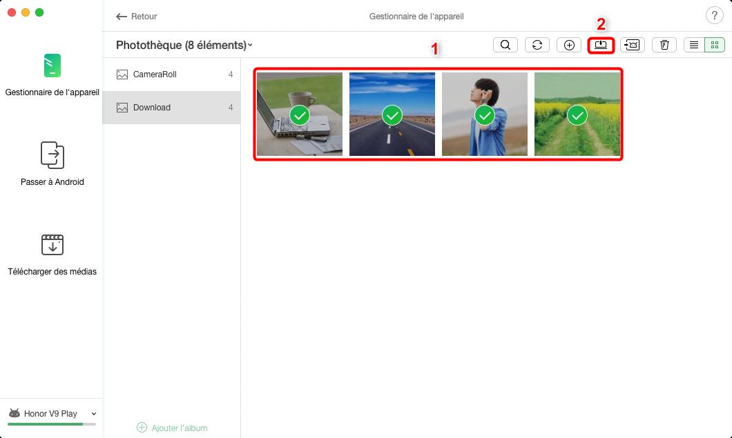 Démarrer le transfert de photos Huawei - Étape 3