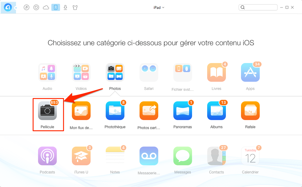 Synchroniser facilement vos photos iPad vers iPhone 7 – étape 2