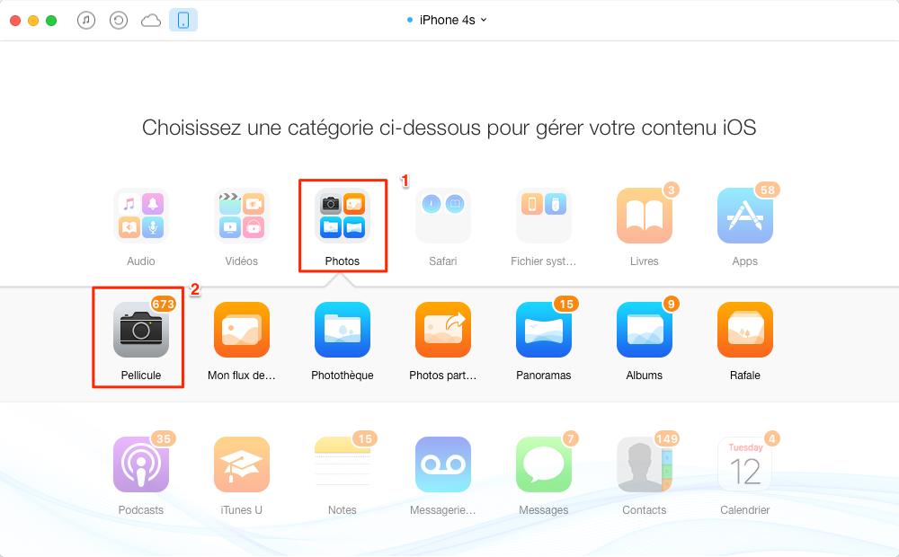 Transférer des photos de l'iPhone 4s à l'iPhone 6 - étape 2