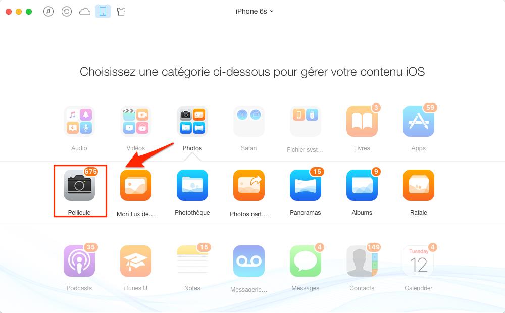 Transférer des photos de l'iPhone 6/6s sur Mac - étape 2