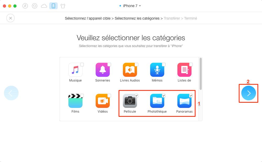Transférer toutes les photos de l'iPhone 7 à iPad en un clic - étape 3