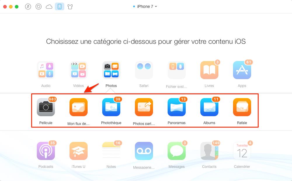 Copier toutes les photos de l'iPhone 7 à iPad en un clic - étape 1