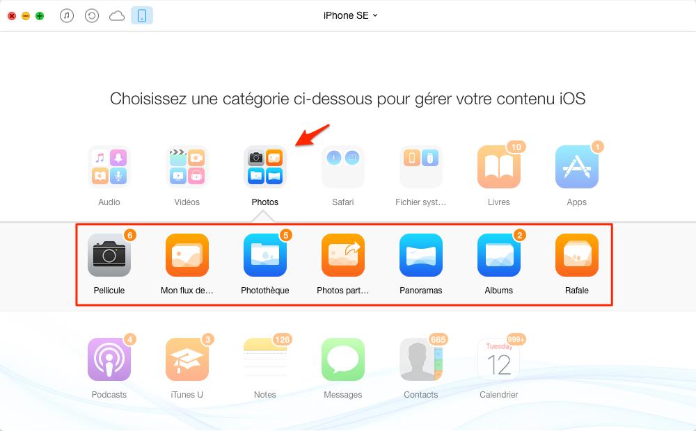 Exporter Photos iPhone SE vers Mac avec AnyTrans pour iOS - étape 3