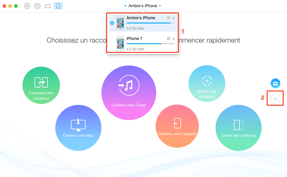 Comment transférer les photos d'un ancien iPhone vers iPhone 7 – étape 1