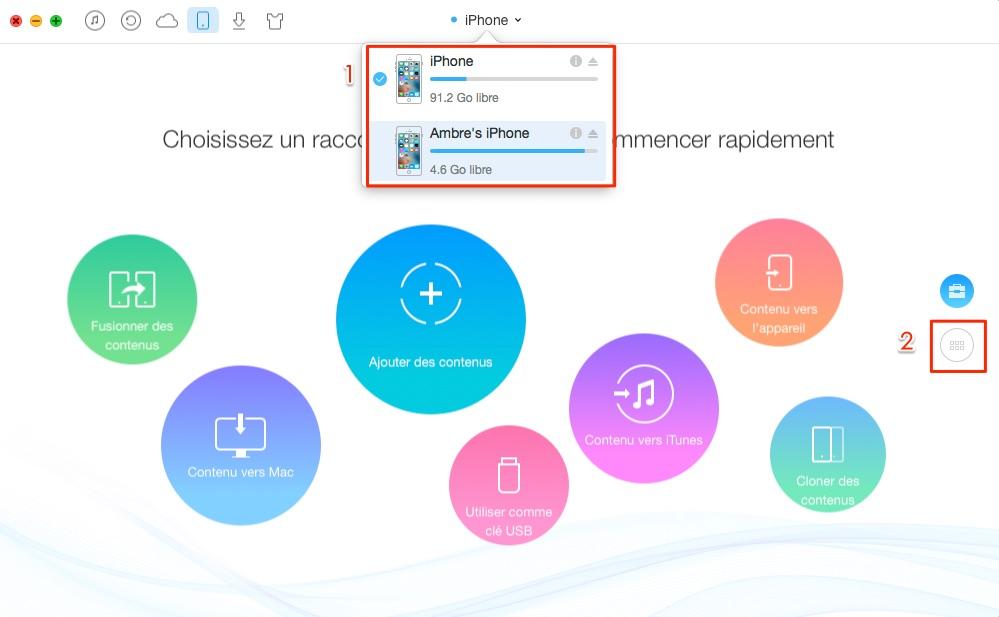Transférer les photos iPhone vers iPhone 8 - étape 1