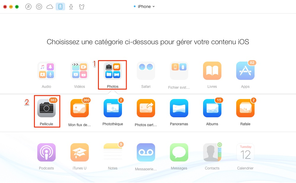 Copier les photos iPhone vers iPhone sans iTunes /iCloud – étape 2