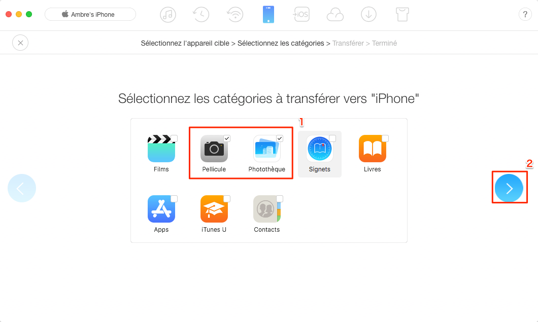 Transférer des photos de l'iPhone vers iPhone via AnyTrans pour iOS – étape 2