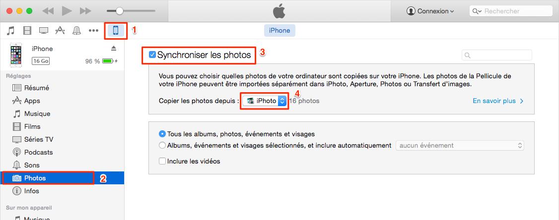 Transférer les photos de l'ordinateur vers un autre iPhone via iTtunes