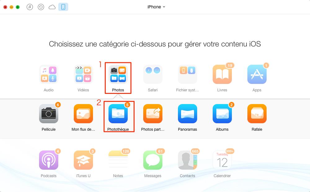 Comment transférer les photos iPhone vers iPod touch – étape 3