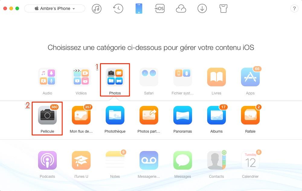 Importer les photos iPhone vers ordinateur portable - étape 2