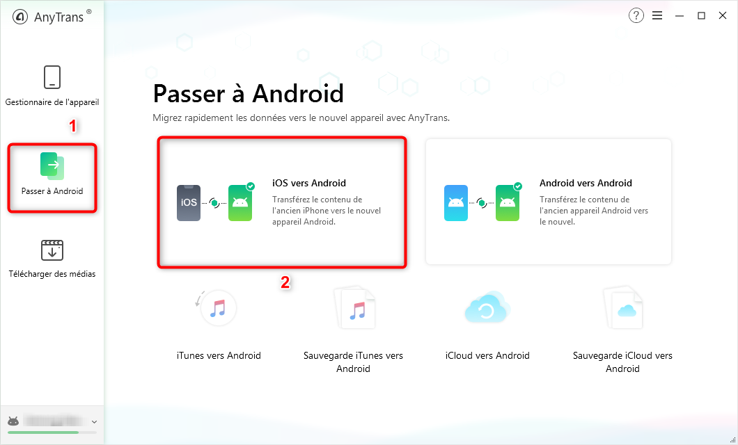 Connexion entre les deux téléphones via AnyTrans pour Android - étape 1