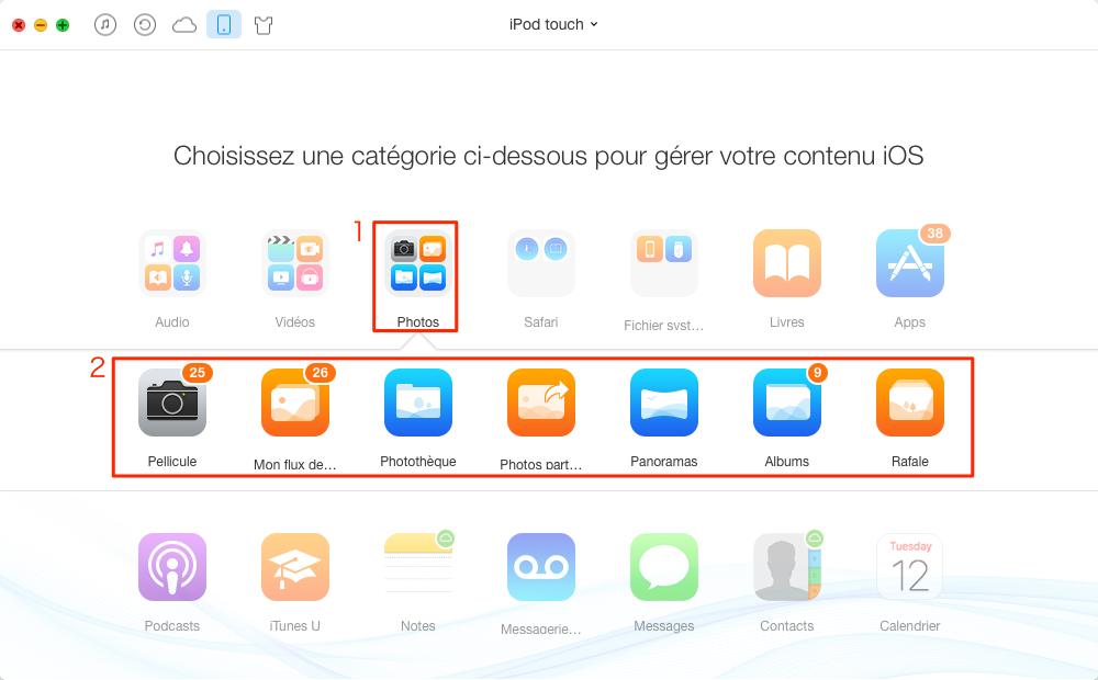 Transférer des photos de l'iPod touch vers PC /Mac - étape 2