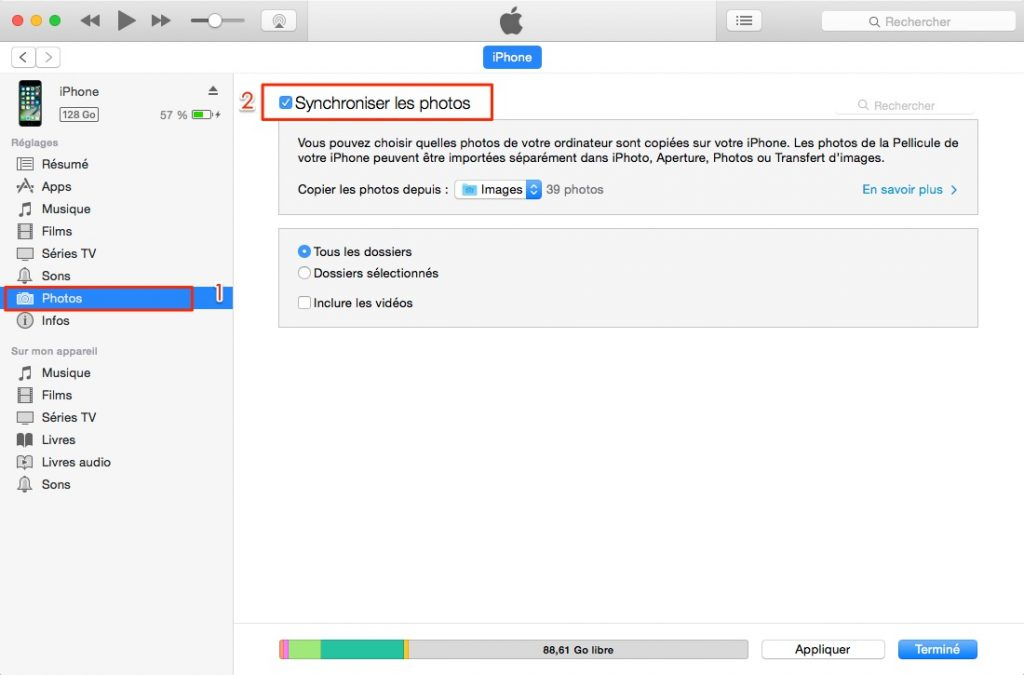 Transférer photos avec iTunes d'ordinateur vers iPhone