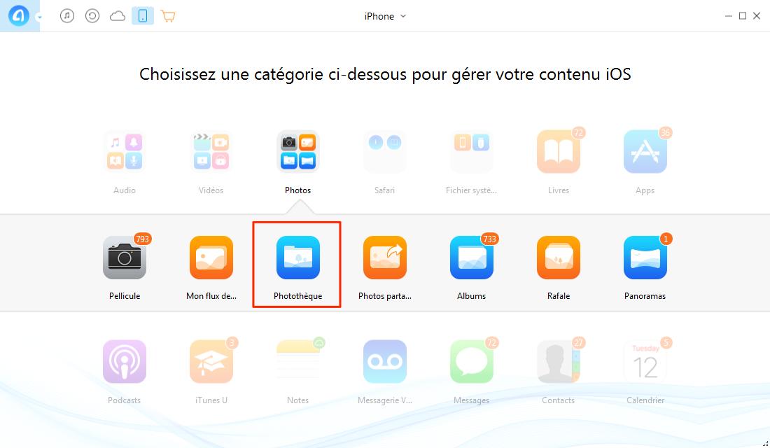 Transférer les photos depuis PC vers iPhone avec AnyTrans - étape 2