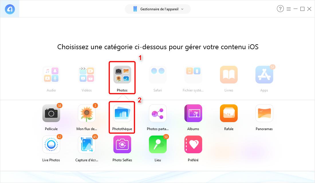Envoyer les photos depuis PC vers iPhone avec AnyTrans pour iOS - étape 2