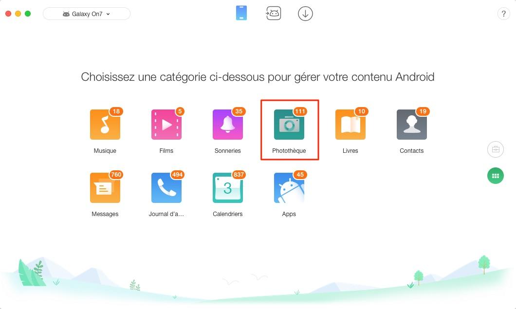 Transfert de photos Samsung vers Mac - étape 2