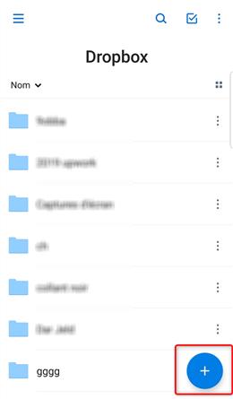 Accès à Dropbox - étape 1