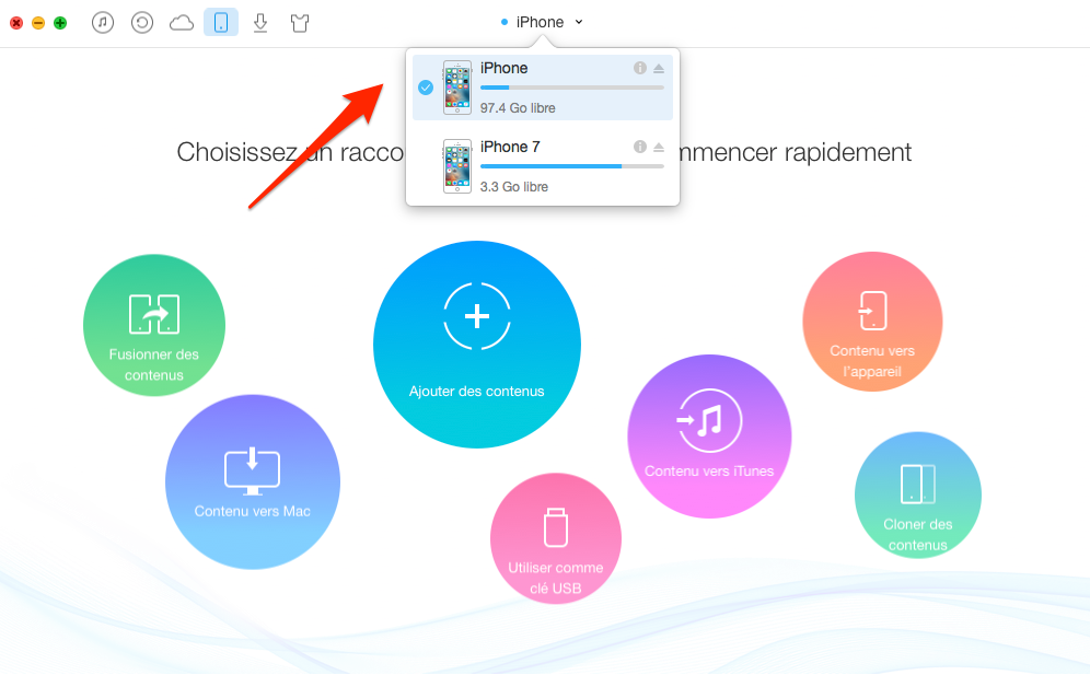 Comment transférer la liste de lecture iPhone 4/5/6 vers iPhone 7 (Plus) – étape 1