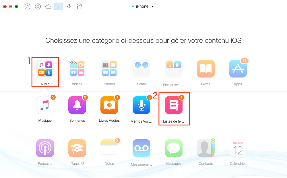 Transférer playlist d'ancien iPhone vers iPhone 7 (Plus) – étape 2