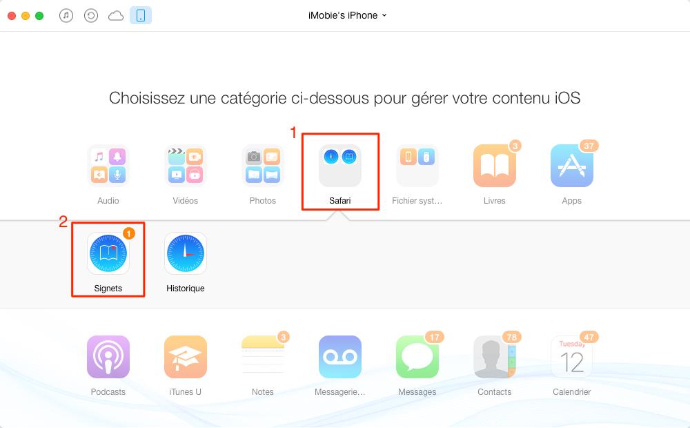 Transférer facilement les signets iPhone 7 vers Mac – étape 2
