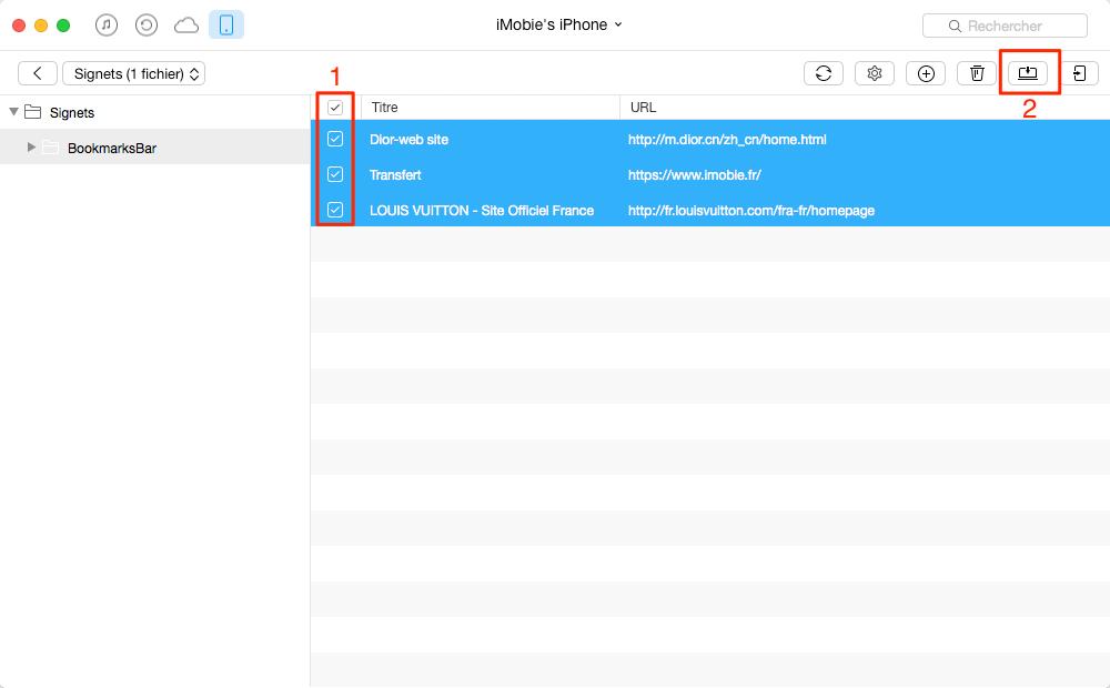 Comment exporter les signets de Safari iPhone 7 – étape 3