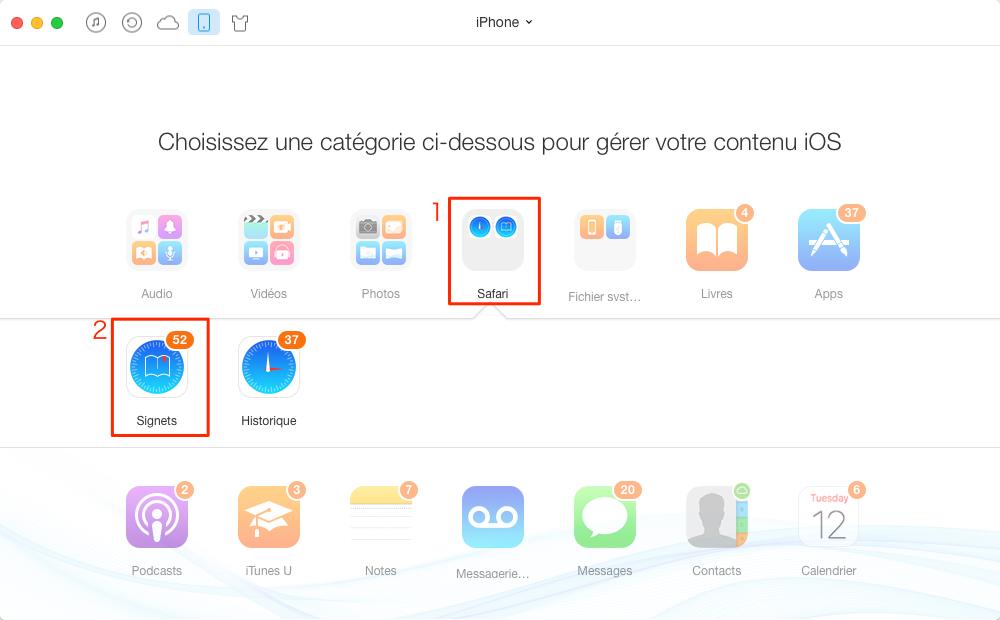 Comment transférer des signets de l'iPhone vers l'iPad - étape 2