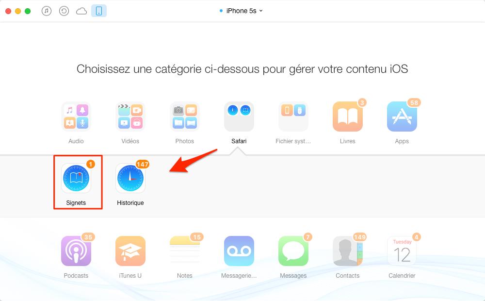 Transfert des signets d'un ancien iPhone vers un nouvel – étape 2