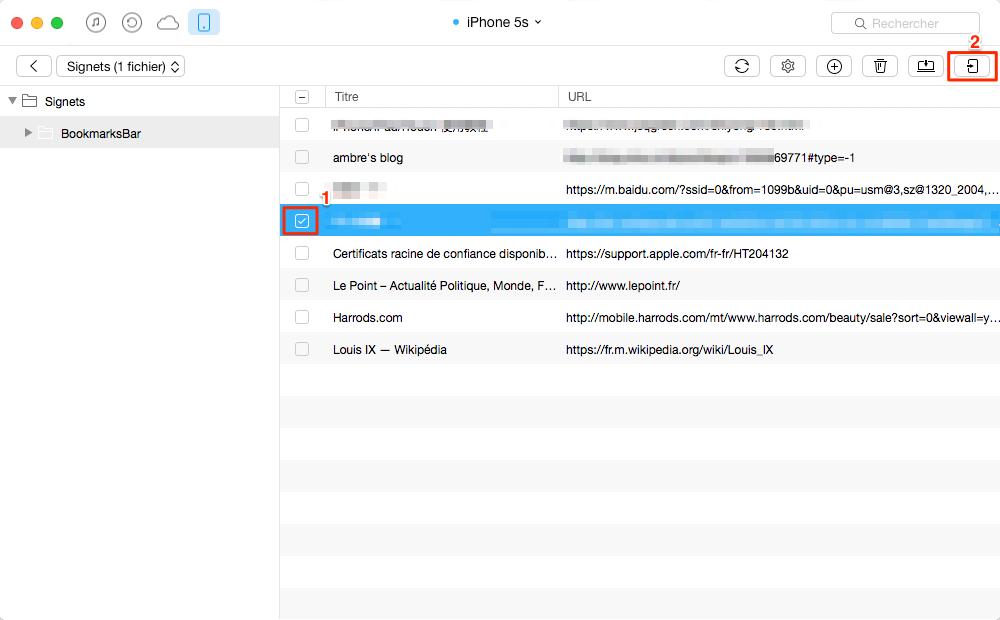 Transférer des signets d'un ancien iPhone vers iPhone 6s – étape 3