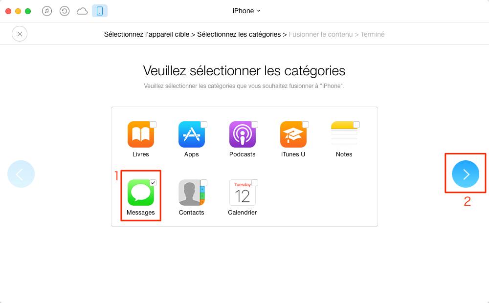 Transférer des Messages de l'iPhone 6 vers iPhone SE - étape 3