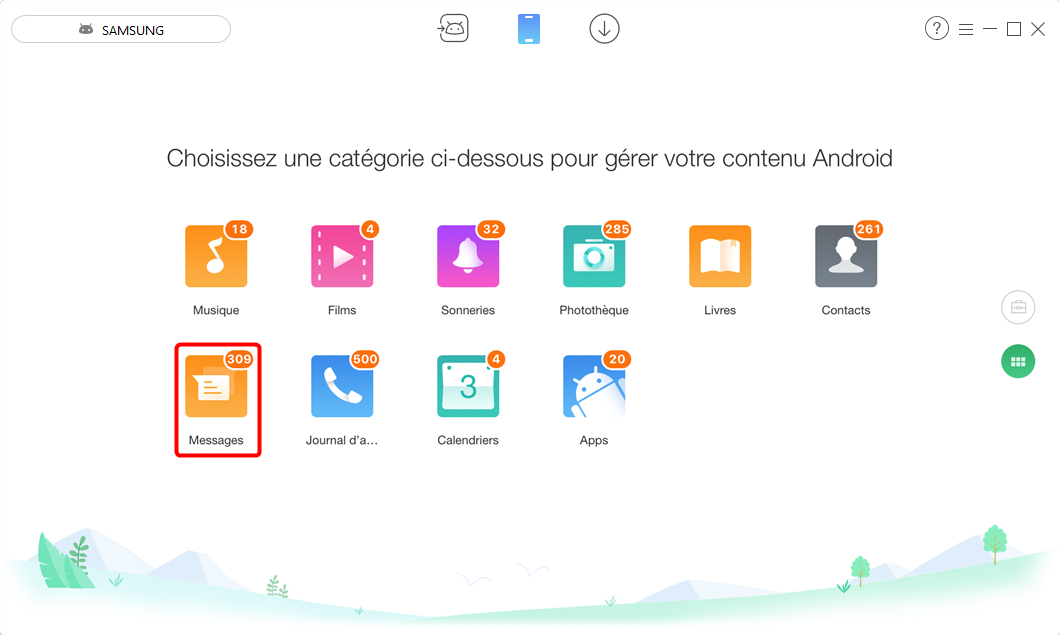 Exporter SMS Android vers PC – étape 2