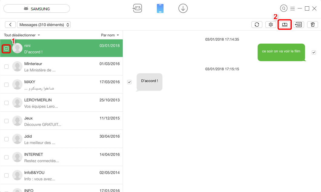 Comment transférer SMS Android vers PC – étape 3
