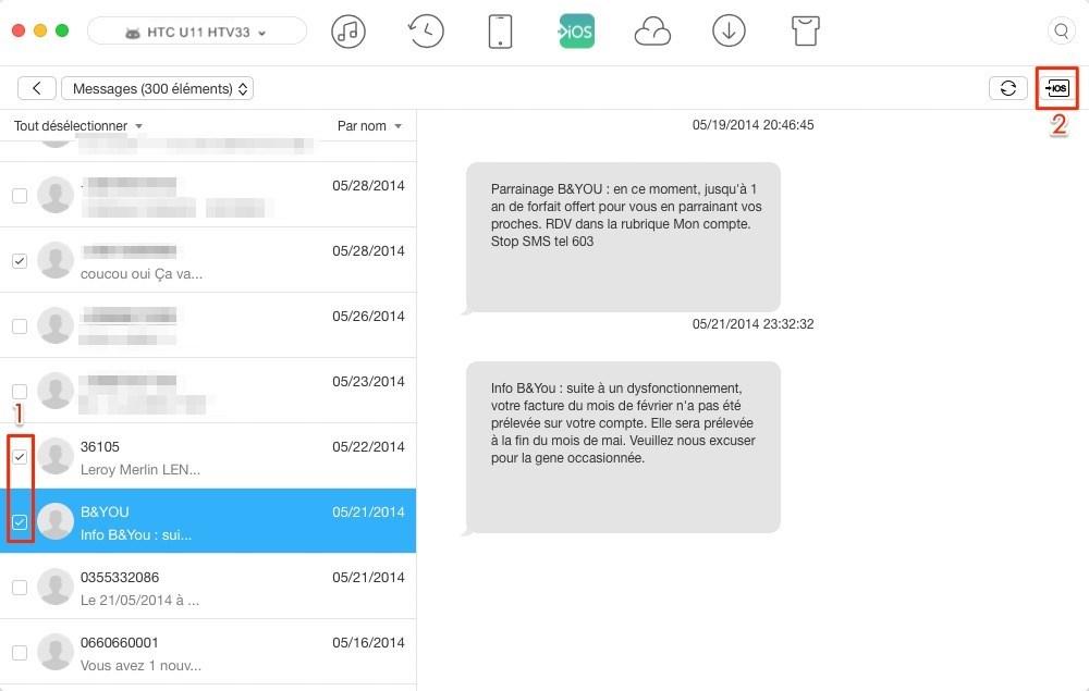 Comment transférer les SMS HTC vers iPhone – étape 3