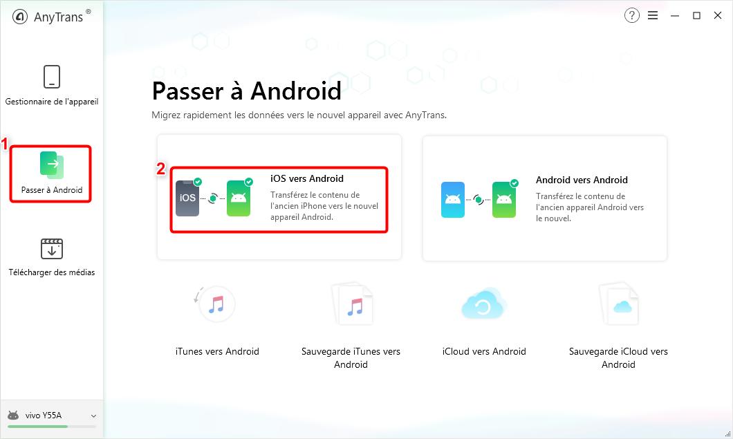 """Cliquez sur le bouton """"iOS vers Android"""" - 2"""