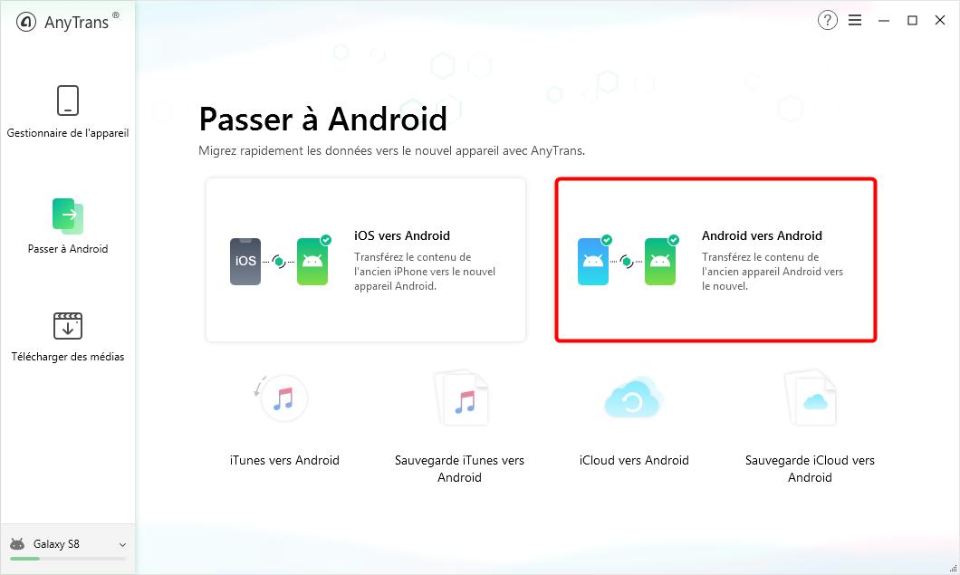 Cliquez sur le bouton « Android vers Android» - 2