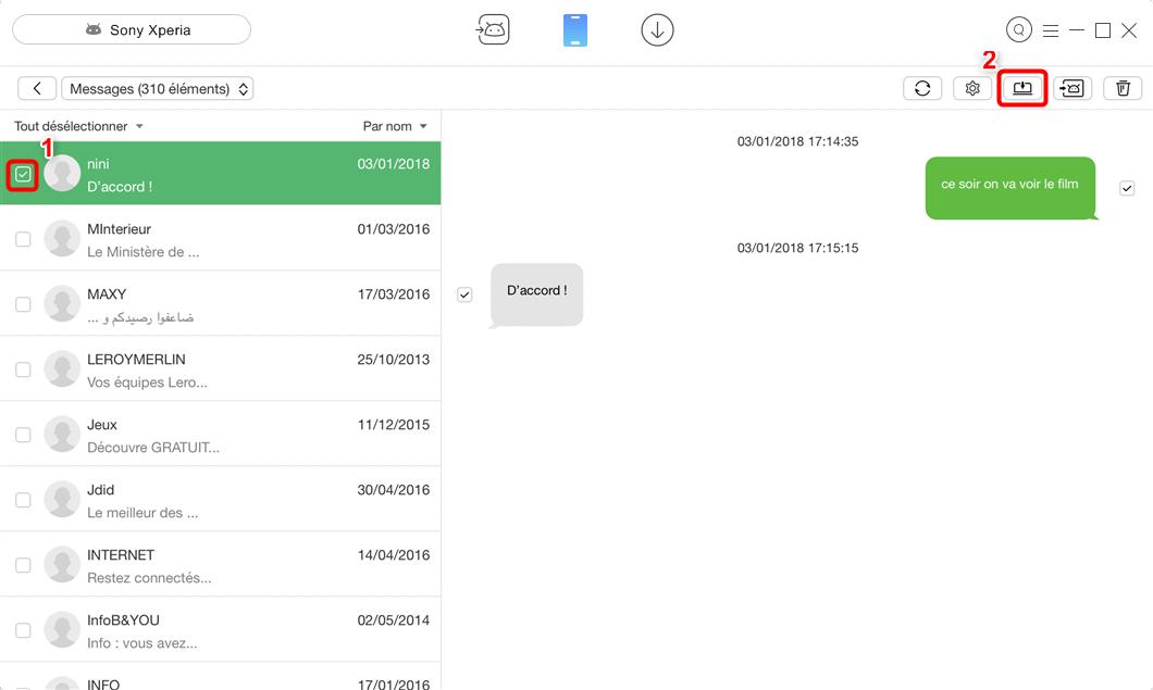 Importer les SMS Sony Xperia vers PC rapidement – étape 3