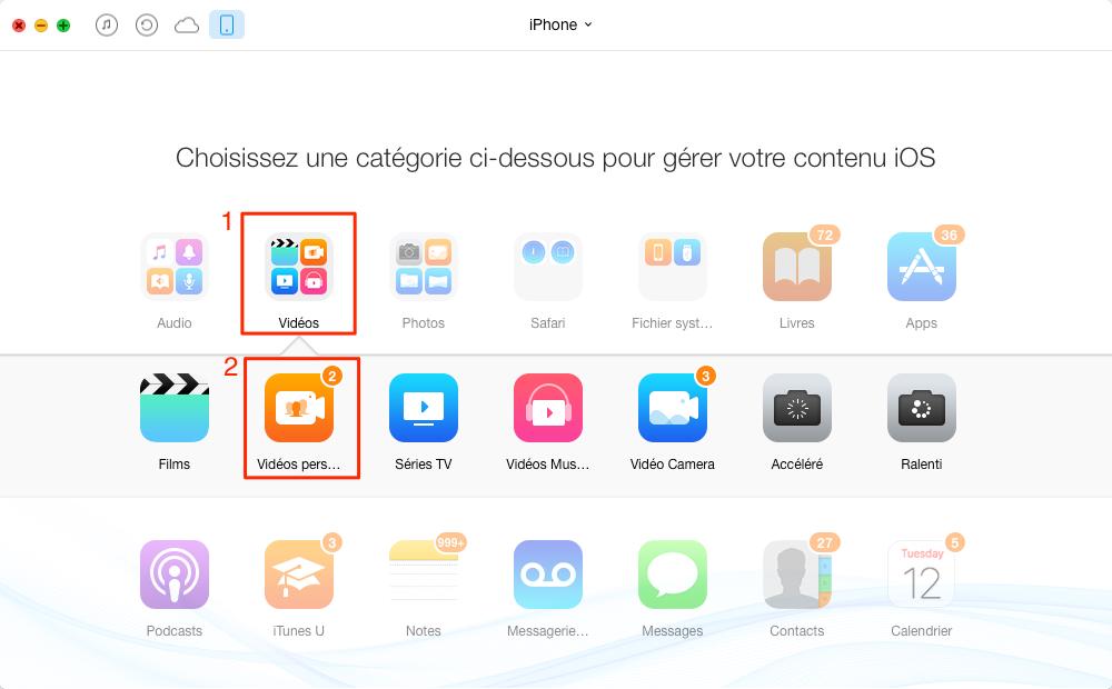 Comment transférer les vidéos iPhone 7 – étape 3