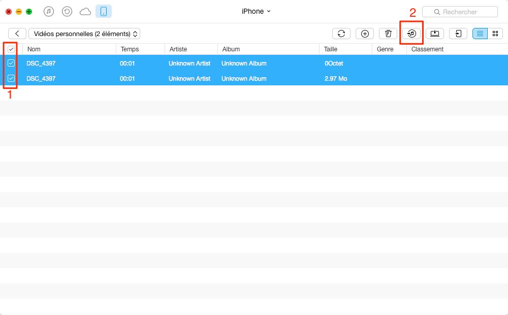 Transférer facilement les vidéos iPhone 7 vers iTunes – étape 4
