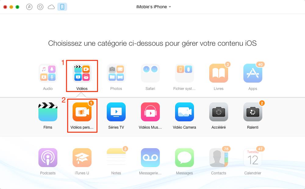 Transférer des vidéos de l'iPhone vers Mac - étape 2