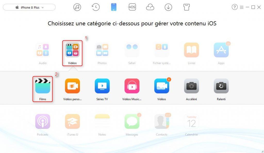 Comment transférer les vidéos PC vers l'iPhone 8 – étape 2
