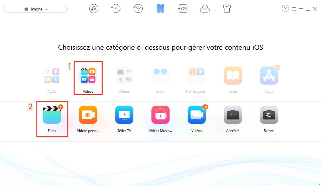 Envoyer les vidéos PC vers iPhone en 1-clic - étape 2