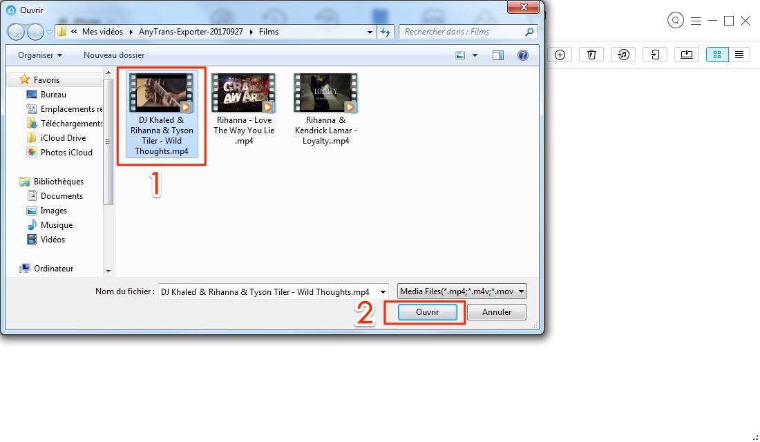 Importer les films PC vers iPhone - étape 3
