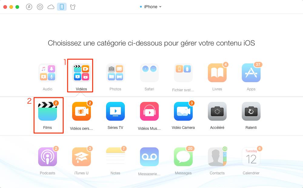 Transférer les vidéos d'un Mac à l'iPhone avec AnyTrans – étape 2