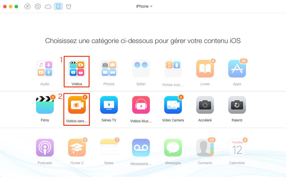 Comment transférer les vidéos iPhone 7 vers iPad – étape 2