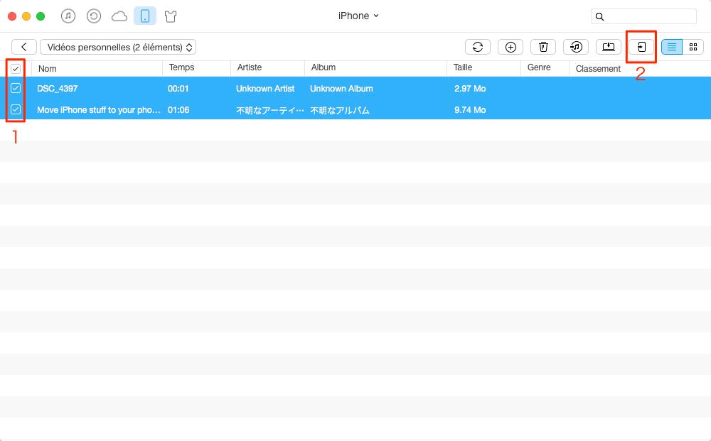 Moyen facile de transférer les vidéos iPhone 7 vers iPad – étape 3