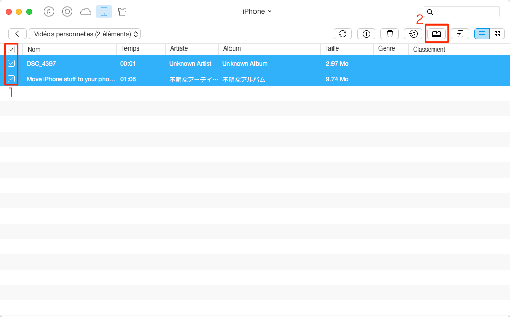 Transfert des vidéos iPhone 7 vers Mac – étape 3