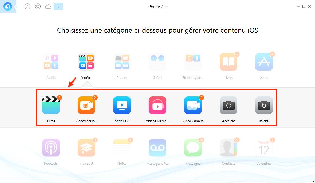 Transférer les vidéos iPhone 7 vers PC – étape 2