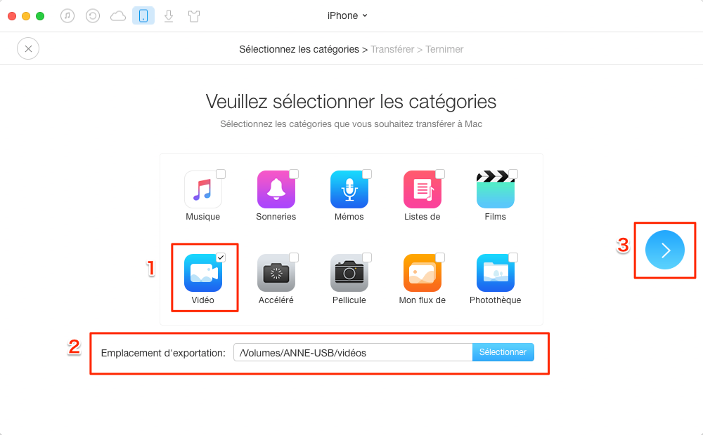 Transfert des vidéos entre iPhone/iPad et USB – étape 2