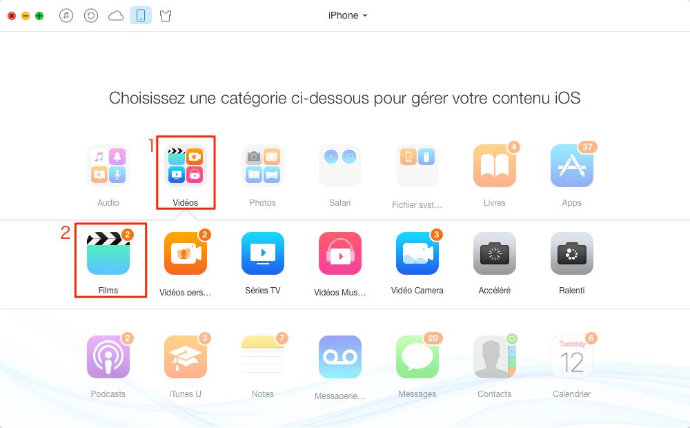 Transfert de vidéos de l'iPhone à l'iPad Pro - étape 2