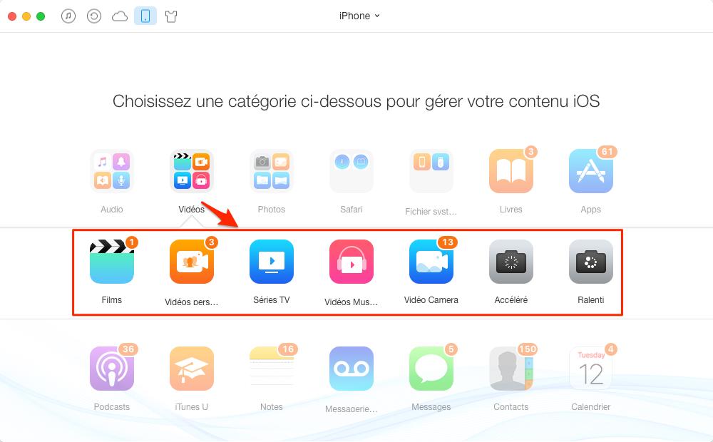 Transférer des vidéos de l'iPhone à iPhone avec AnyTrans - étape 2