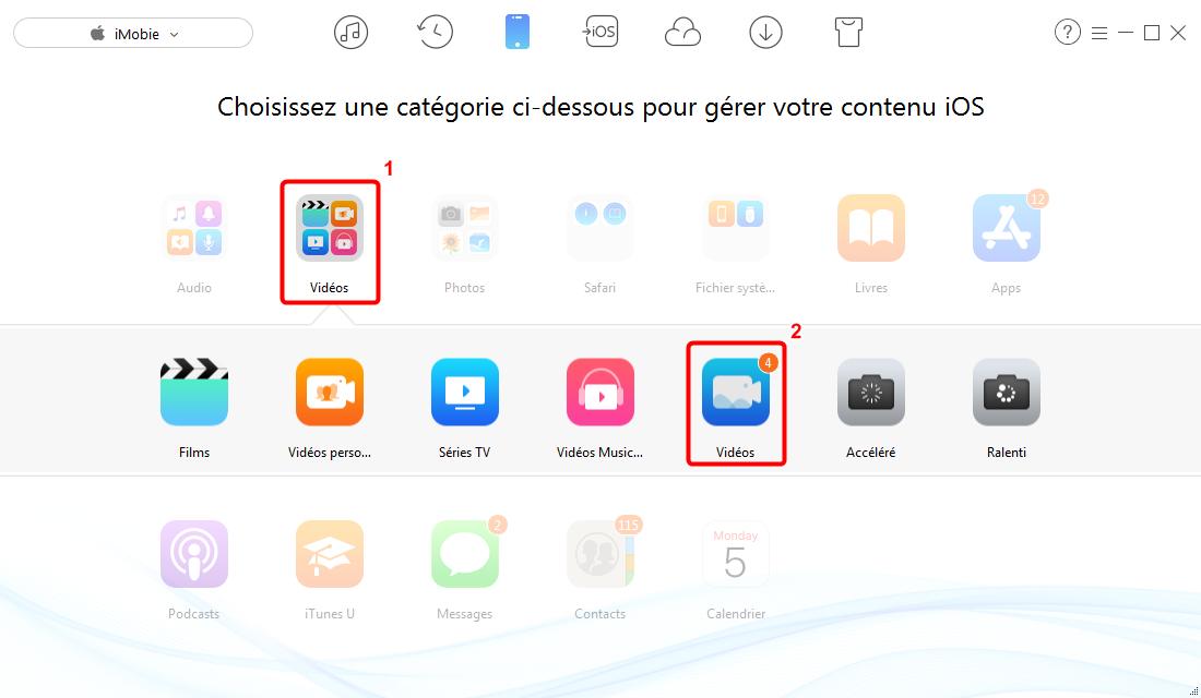 Transférer les vidéos iPhone X vers PC – étape 2